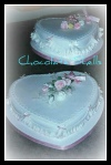 2 Tier Heart Cake with Frills & Hand made Sugar Flowers