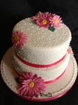 "Fuchsia pink 8"" & 10"" fruit wedding cake"