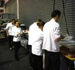 Back stage before Hideko Kawa - head pastry Chef of the fat duck does her demo